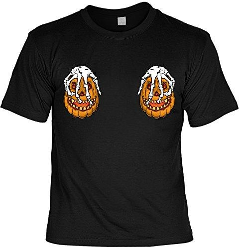 Halloween T-Shirt - Coole Sprüche/Motive - Kostüm Halloweenparty : Halloween Pumpkin Skelett Hände - Halloweenshirt Kürbis - Brüste Krallenhände Gr: XXL
