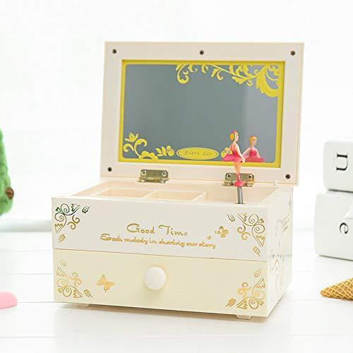 NOVELOVE Kinder-schmuck-Box-Box Make-up Spiegel Haar Acht-ton-Box Rotierenden Tanz Mädchen Student Geschenk 15 X 10,5 X 7,5 cm beige