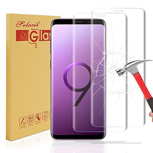 Solocil 2 Stück Galaxy S9 Schutzfolie, 3D 9H Härtegrad HD Ultra Klar Anti-Kratzer Panzerglasfolie Displayschutzfolie Displayschutz für Samsung Galaxy S9