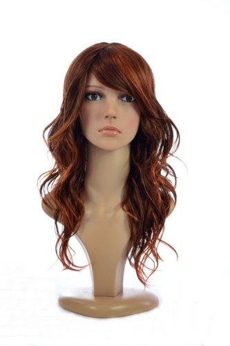 Ombre Zwei Ton Gelockt Human Hair Blend by MissTresses Perücke mit Fransen, Rotschopf (Zwei Ton-fransen)