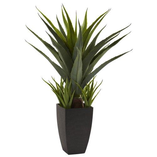 Nearly Natural Fast Natur 4856Agave Pflanze mit Schwarz Übertopf, Grün