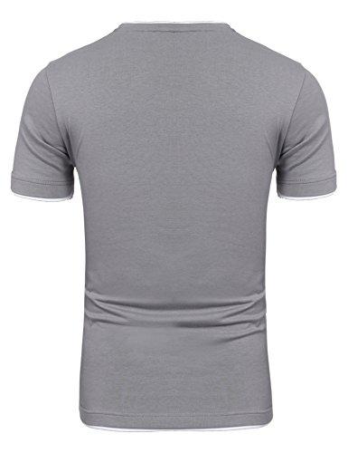 Coofandy Herren V-Neck T-Shirt Kurzarm Layershirt mit Knöpfen Freizeit Dunkelgrau