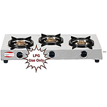 surya triad 3 burner stainless steel gas stove by brightflame