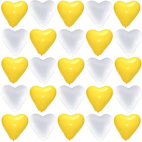50 große Premium Herz Luftballons 25 gelb 25 weiß Ø 30cm Helium geeignet Markenqualität Baby Party