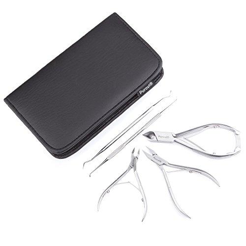 Purovi® Kit de Manicura y Pedicura | 5 Instrumentos | Uñas y Cutículas | Acero Inoxidable | Estuche Elegante