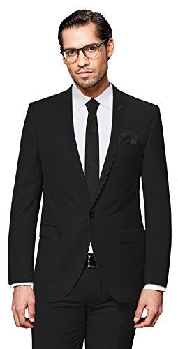PABLO CASSINI Herren Anzug Fine Art - 3 teilig - Schwarz Smoking Ein-Knopf Hochzeit Business PCS_1 (50) (Herren 3-knopf Schwarz Anzug)