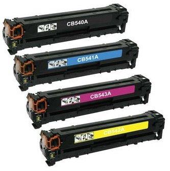 Pack 4 Compatibles Toner Laser pour HP Colour Laserjet CM1312 CP1210 CP1213 CP1214 CP1215 CP1216 CP1217 CP1500 CP1510 CP1513 CP1514 CP1515 CP1516 CP1517 CP1518 CP1519 Canon I-SENSYS LBP-5050N LBP-8030CN LBP-8050 LBP-8050CN MF-8030CN MF-8040CN MF-8050CN MF-8080CW | Remplacement pour HP 125A (CB540A, CB541A, CB542A, CB543A) & Canon CRG-716 | Noir: 2200 Pages & Cyan/Magenta/Jaune: 1400 Pages