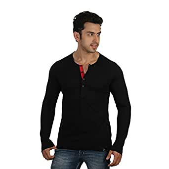 Rigo Men'S Full Sleeves Neck Black T Shirt (Size-Small)