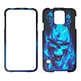 2D blau Skull Samsung Galaxy S5/S 5I9600Schutzhülle Hard Case Snap On Cover Gummiert Touch Displayschutzfolie Blenden