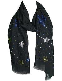 Mevina Schal mit Pailletten Glitzer Stern Fransen groß rechteckig Baumwolle Schal Halstuch