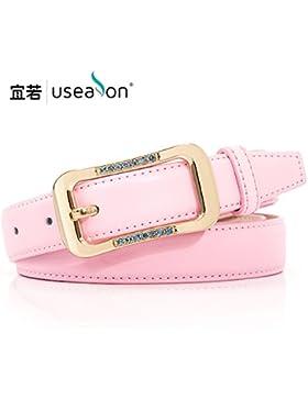 SILIU*Hebilla de cinturón de diamante La Sra. West correas de cintura y ancho de banda , rosa de moda ,110cm marea