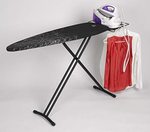 Jata Hogar TP520 Tabla de Planchar Ajustable en Altura y Plegable, Metal, Negro, 161x45x15 cm