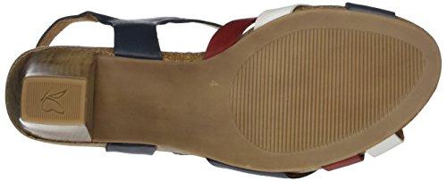 Caprice Damen 28317 Offene Sandalen mit Keilabsatz Blau (NAVY MULTI)