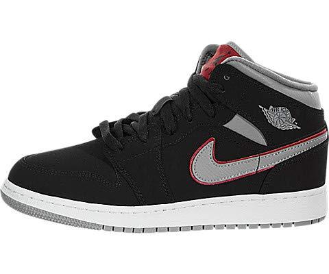 Nike Air Jordan 1 Mid GS, Zapatos de Baloncesto para Niños, Negro Black/Particle Grey/White/Gym...