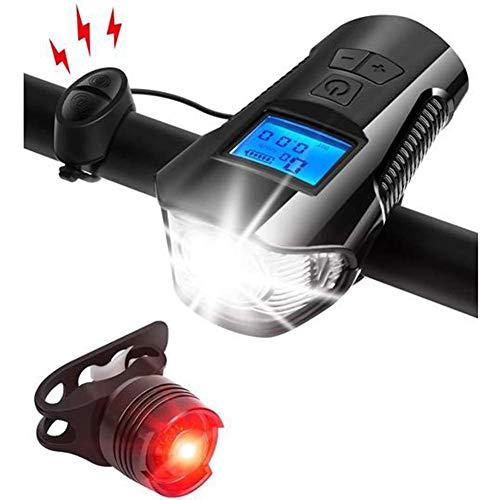 PJPPJH USB wiederaufladbare wasserdichte LED Fahrrad Licht Set, Highlights Smart Code Tabelle Display Scheinwerfer Rücklichter Kombination Reitausrüstung Zubehör