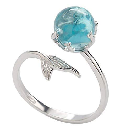 Cikuso Damen Ring Meerjungfrau Schwanz Kristall Ring Diamond Bend Gr??e Einstellbar Offenen Ring Hochzeit Schmuck