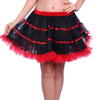 1980s 80s Rainbow Vivid Neon Flo RaRa Rave Party Ballet Dance Ruffled Tiered Tutu Skirts HEN NIGHT Clubwear Fancy Dress (Black/Red)