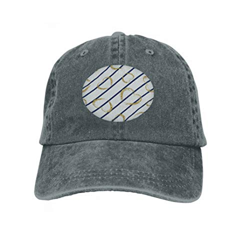 Xunulyn Vintage Denim Cap Hat Adjustable Sports Trucker Baseball Hat White Blue Geometric Stripes golden Grunge tti Hearts Symbol Carbon -
