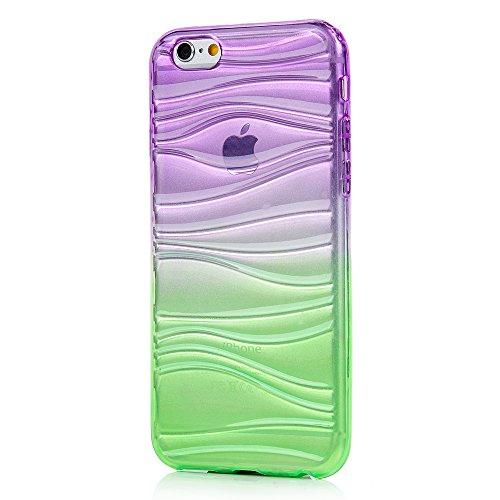 MAXFE.CO iPhone 6 Plus / 6S Plus(5.5 pouces) Coque Transparente de Dessin Original en TPU Souple Case Cover[Vague 3D Bicolore]-Violet et Vert Violet et Vert