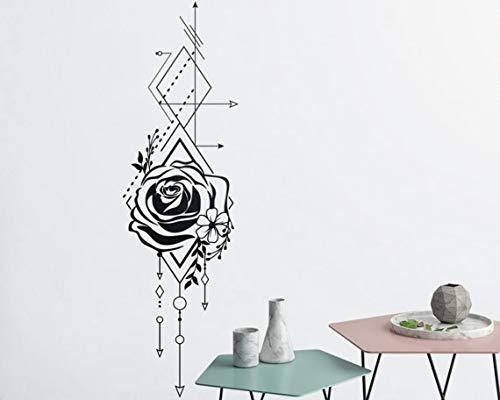 Rose Floral Wallpaper (wangpdp Schöne geometrische Rose und Pfeile Wall Decals einzigartige Vinyl Wall Decal Mädchen Schlafzimmer Rose Floral Wallpaper Interior Decor 42 * 143cm)