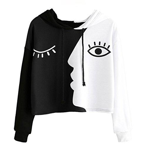 BHYDRY Frauen Damen Sweatshirt mit Kapuze Langarm Crop Patchwork Bluse Pullover Tops(XL,Schwarz)