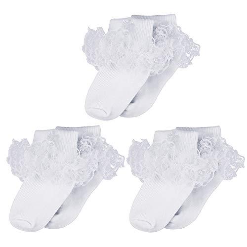 LACOFIA Neugeborene Baby Mädchen Baumwolle Rüschen Spitze Bestickt Kreuz Weiße Taufe Socken 3 Paare 0-6 Monate