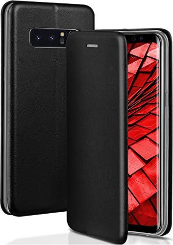 OneFlow® Premium Booklet mit unsichtbarem Magnetverschluss + Aufstellfunktion kompatibel mit Samsung Galaxy Note8 | Exklusive Lederoptik, Schwarz
