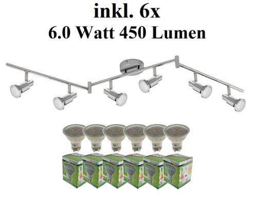 Trango 6-flammig LED Deckenleuchte inkl. 6x Power LED Leuchtmittel 3000K Warm-Weiß, Deckenstrahler mit Gelenken (TG2991-068-6W)