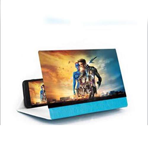 ZhiXing 12-Zoll-Handy-Bildschirmlupe,Hochauflösende 3D-Video-Bildschirmlupe, Faules Handyhalter, Blue