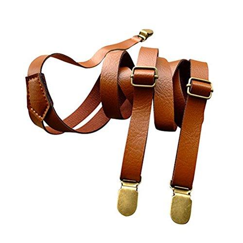 Tinksky clip completamente regolabile sul soprabito vestito alla moda borse in pelle in pu per le donne uomini, regalo di compleanno di natale per gli amici (marrone)