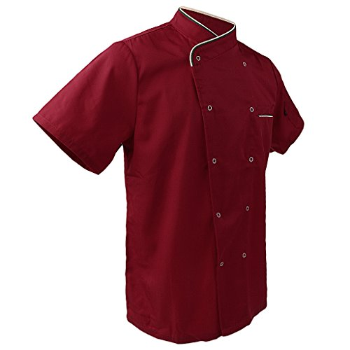 MagiDeal Unisex Kochjacke Bäckerjacke Kurzarm Chef Jacke Mantel Restaurant Koch Uniform - Rot, XL (Kurzarm-kochjacke)
