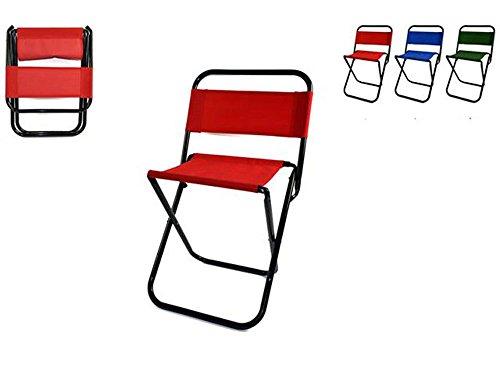 Vetrineinrete® sgabello pieghevole per pesca e campeggio sedia con schienale max 85 kg pratica e comoda da portare in giro sedie da spiaggia vari colori f27