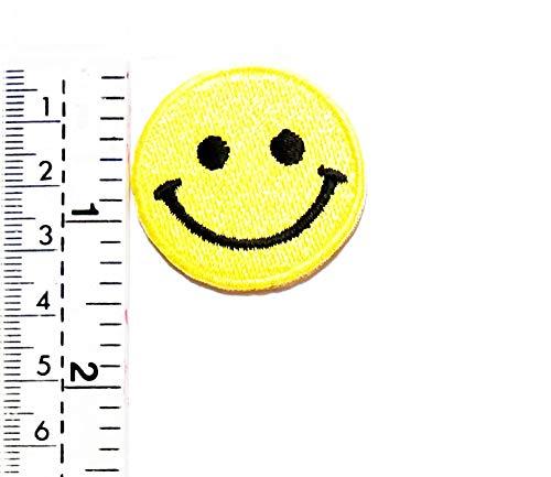 Aufnäher mit Emoji-Lächeln und gelbem Aufnäher, lustiges Smile-Motiv, lustiges Smile-Motiv, für Kinder und Studenten, für Biker, Motorradfahrer, Biker, Tattoo, Jacke, T-Shirt, Aufnähen, - Motorradfahrer Kostüm