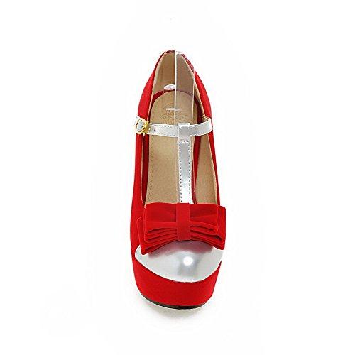 Senhoras Bombas Toe Allhqfashion primas Mistura Alta Fivela Rodada Calcanhar Sapatos Vermelhos UWnPB7qw