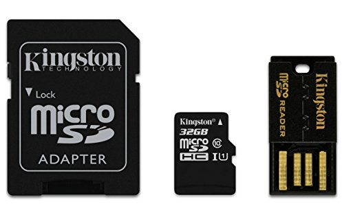 Kingston 32GB Multi Kit - Tarjeta de memoria microSD de 32 GB, (kit con adaptadores SD y USB), color negro