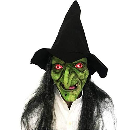 Halloween Masken, Langhaarige Grimassen Latex Scary Witches, Masquerade Rollenspiel Requisiten , Facepiece , Tape Hats