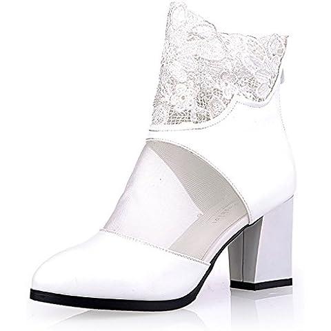 San botas de las nuevas mujeres de tac¨®n alto de color rosa blancas gruesas con botas de malla transpirable botas de huecos de la correa de la hebilla botas botas fresco de matrimonio , white , 37