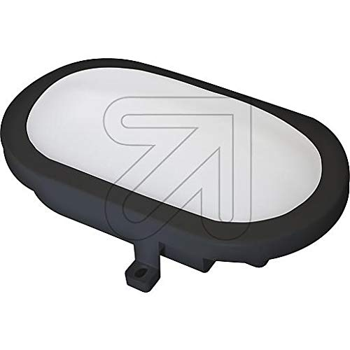 LED Oval-Armatur 634370 Feuchtraum-Leuchte IP54 nur 12W Lampe 4000K, 840lm, für Keller Terasse Garage (schwarz)