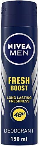 NIVEA Men Deodorant, Fresh Boost, 48h Long lasting Freshness with Fresh Musk Scent, 150 ml