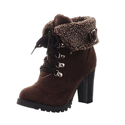 Tatis Einfarbig Frauen Winter PU Obermaterial Plüsch Starke Ferse Lace-up Kurze Stiefel Ankle Boots (EU Size:37.5, Braun) (Ankle Boot Ferse-lace Up)