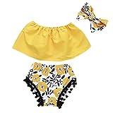 Giulogre 3PC Set Enfant bébé Fille Floral Princess Casual Tops Shirt Shorts Bandeau...