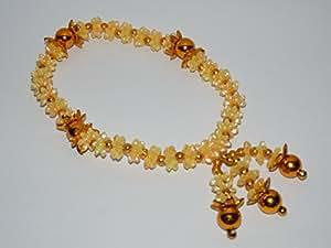 Thai Mahamongkol Talisman Amulette Chance Guirlande de fleurs jaune perle Bouddha Worship 4,5 cm
