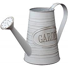 Hogar y Mas Regadera Decorativa de Metal para jardín Vintage Color Gris Flowers & Garden