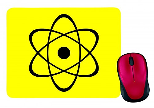 "Mauspad ""ATOMKERN- KERNENERGIE- RADIOAKTIVITÄT- KERNSPALTUNG- ORBITALE- NEUTRONEN- SYMBOL- ZENTRUM- ATOMAR- ATO- RADIOAKTIV"" in Gelb | Mousepad - Mausmatte - Computer Pad - Mauspad mit Motiv"