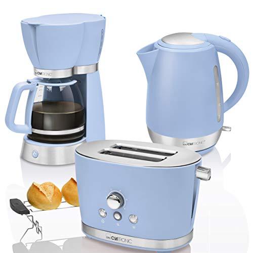 CTC Set Desayuno Vintage, Cafetera de goteo 15 tazas, Tostadora de pan 2 rebanadas, Hervidor de agua eléctrico 1,7 litros, azul pastel estilo Retro