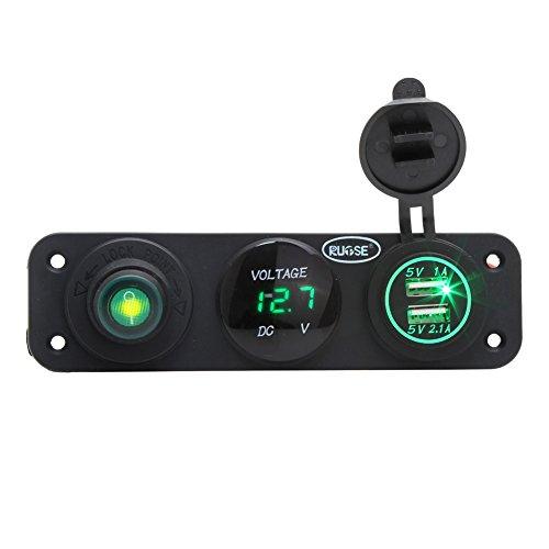 Preisvergleich Produktbild Rupse 2.1A Wasserdichte Motorrad ATV USB-Anschluss Ladegerät Voltmeters LED Digital Anzeige Einbau Steckdose (Grün)