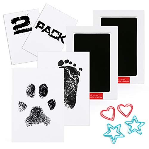 Scotamalone 2 Packs Baby-Handabdruck- und Fußabdruck-Tintenkissen - Pet Paw Print-Tintenkits - Ungiftig, Safe and Clean-Touch - für Familien-Andenken-Baby-Dusche-Geschenk und große Registrierung