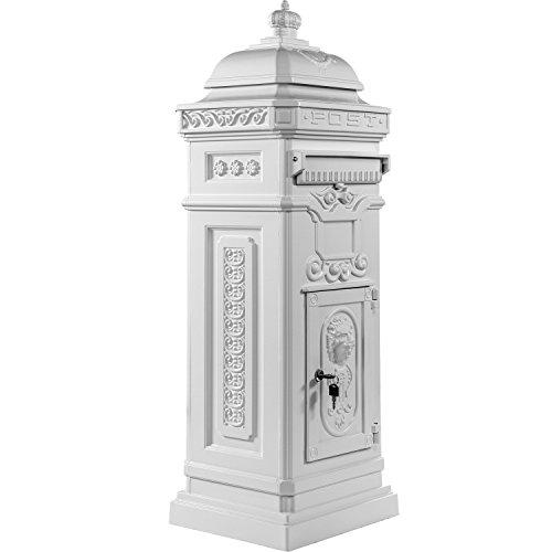 Maxstore Antiker englischer Standbriefkasten, rostfreies Aluminium, Höhe: 102,5 cm, Farbe: Weiß, 3 Jahre Garantie