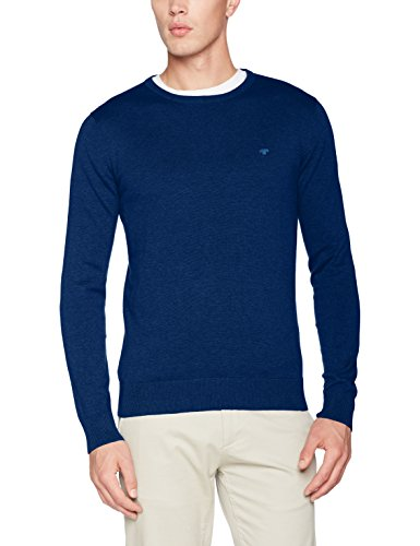 TOM TAILOR Herren Sweatshirt Basic Crew-Neck Sweater, Blau (Night Sky Blue Melange 6496), Large