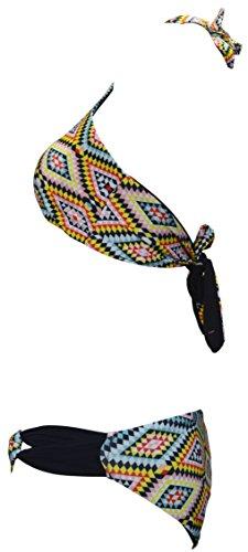 OCTAVE® Damen Bademode Badeanzug Beachwear Kollektion–verschiedenen Styles und Farben High Neck Bikini - Multi Diamond